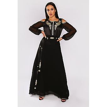 Lebssa hortence cold shoulder long sleeve occasion wear formal long maxi dress and belt in black