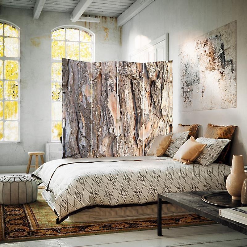 Diviseur de chambre, 4 panneaux, toile, écorce d'arbre