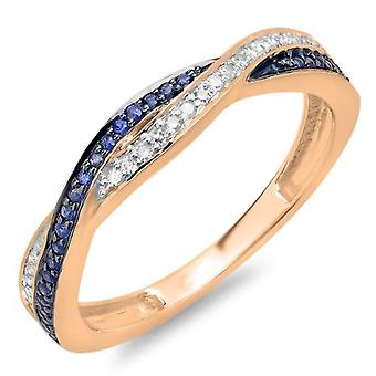 Dazzlingrock Collection 14K Round White Diamond & Blue Sapphire Ladies Stackable Wedding Band Swirl Ring, Rose Gold