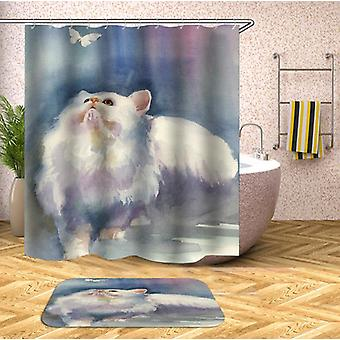 Water Painting Cat Shower Curtain