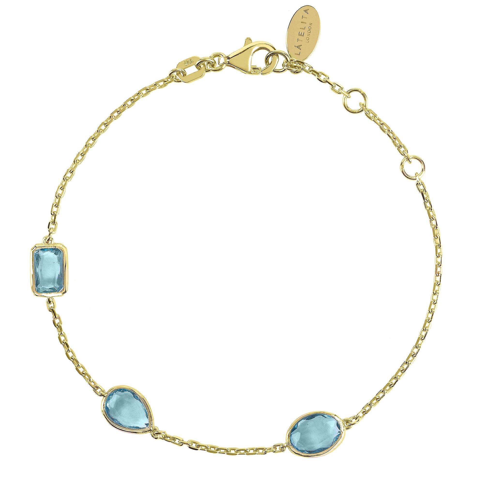 Latelita Gold Light Blue Topaz Multi Gemstone Bracelet Delicate 925 Silver