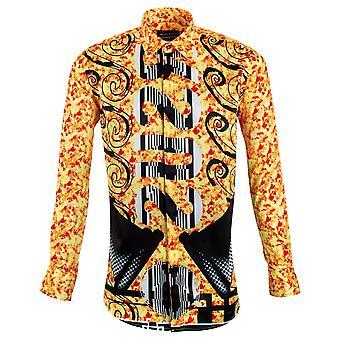 Oscar Banks Orange Flame Patterned Print Mens Shirt