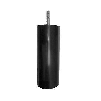 Rundes schwarzes Möbelbein 12 cm (M8)