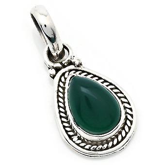 Amuleto de caneta corrente prata 925 Sterling Silver Green Onyx Green Stone (Não: MAH 147-14)