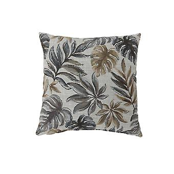 Contemporary Style Leaf Designed Set of 2 Throw Pillows, Gray