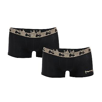 Boys Money 2 Paire Black Label Boxer Shorts In Black- 2 Paires Noir- Or