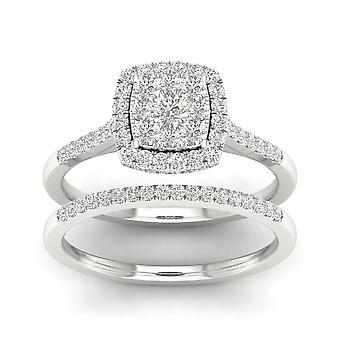 Igi-certifierad s925 silver 0.50ct tdw naturliga diamant kluster halo brud set