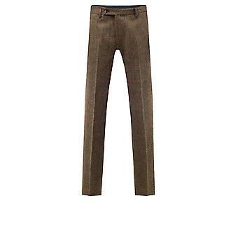 Moon Mens Brown Overcheck Tweed Suit Spodnie Regularne Dopasowanie 100% Wełna
