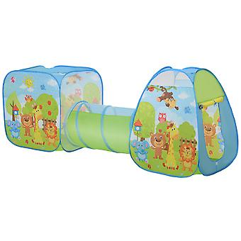 HOMCOM 3 in 1 Pop Up Tent Kids Playhouse Toddlers Crawl Tunnel Cute Drawing On Surfuce Indoor Outdoor Garden Use 230 x 74 x 93 cm