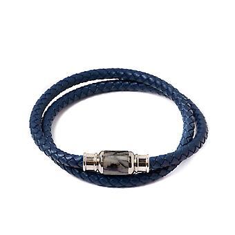 Gemini O23 Bracelet - Olympus Ultra Jaspe Grey and Leather Blue Men