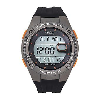 Tekday Watch 655942 - Digital Multifunction Silicone Black and Grey Touches OrangeMen