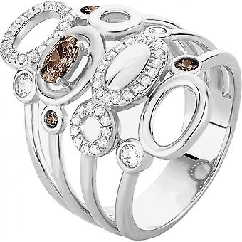 Zeades Pebble ring-ring silver crystals woman