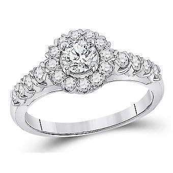 1.00 Carat (ctw) Diamond Halo Engagement Ring in 14K White Gold