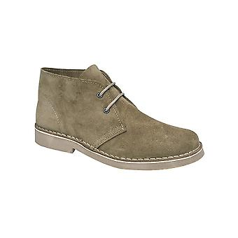 Roamers Khaki Real Suede Round Toe Desert Boot Unlined Tpr Sole