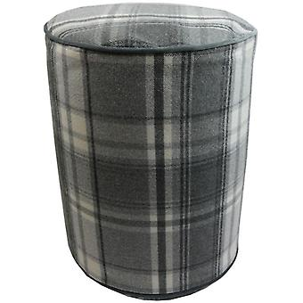 Mcalister textiles deluxe tartan charcoal grey ottoman