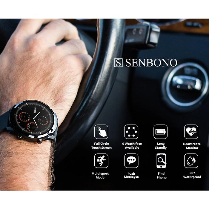 Senbono S10 Smartwatch Fitness Sport Activity Tracker Smartphone Watch iOS Android iPhone Samsung Huawei Brown Leather