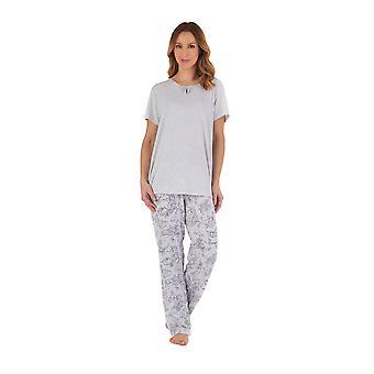 Slenderella PJ55124 Women's Grey Floral Cotton Pyjama Set