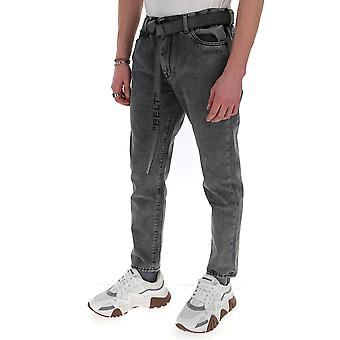 Off-white Omya005r20e540270810 Men's Grey Cotton Jeans
