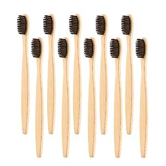 10x cepillo de dientes de bambú - marrón