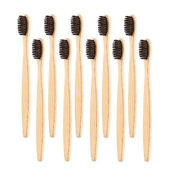 10x Bamboo Toothbrush - Brown