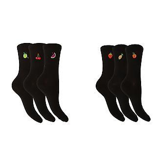 Foxbury Womens/Ladies Fruit Design Cotton Rich Black Socks (3 Pairs)