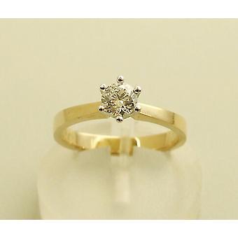 Yellow gold solitary diamond ring