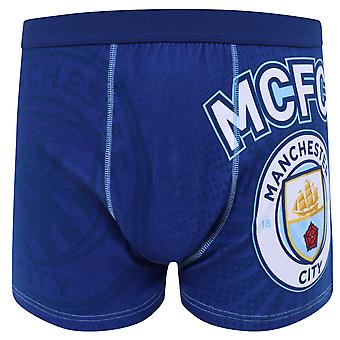 Manchester City FC Officielle Fodbold Gave Herre Crest Boxer Shorts Navy