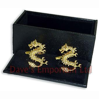 Lucky Chinese Dragon Cufflinks - Gold Plated - Gift Boxed - New Year Festival