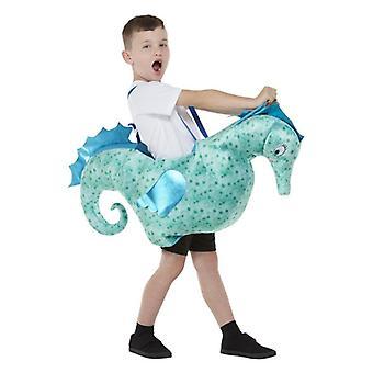 Paseo de los niños en el vestido de lujo del caballo de mar un tamaño