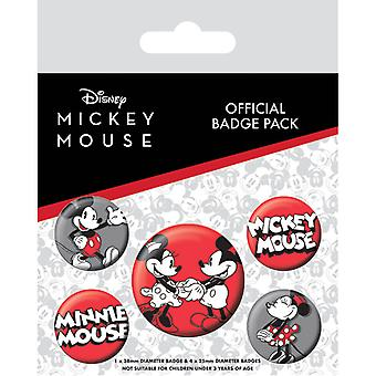 Mickey & Minnie Mouse Pin Button Badges Set