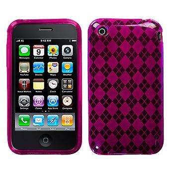 Asmyna Argyle Candy Skin Case per Apple iPhone 3GS/3G - Hot Pink