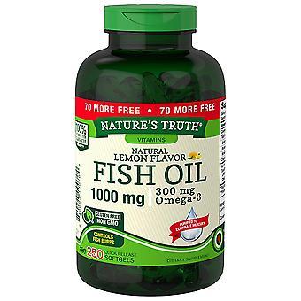 Óleo de peixe da nature's truth fish, 1000 mg, softgels de liberação rápida, limão natural, 250 ea