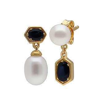 Moderne Perle & Saphir nicht übereinstimmende Tropfen Ohrringe in vergoldeten Sterling Silber 270E030201925