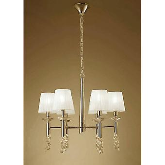 Tiffany Pendant Lamp 6 + 6 Bulbs E14 + G9, Gold With White Lampshades & Transaparent Crystal
