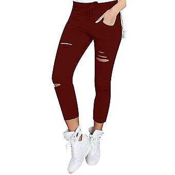 Women causal holes high waist loose solid skinny jeans