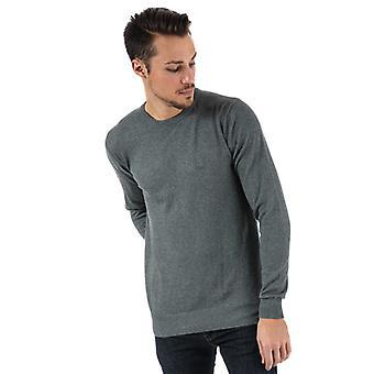 Heren's Bench Cotton Fine Guage Crew Knit in Grey