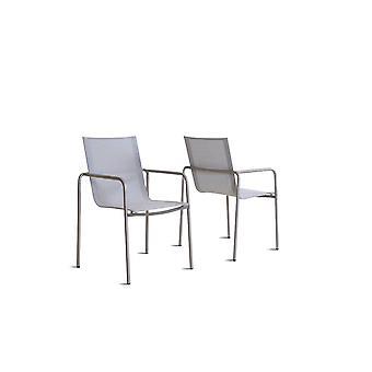 Roestvrijstalen stoel Tex U, 2 stuks - zijdegrijs