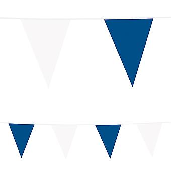 10 Plastic Bunting: Blue & White
