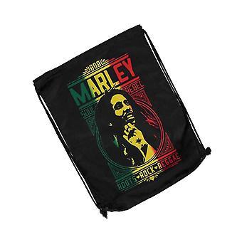 Bob Marley Gym Çanta Roots Rock Reggae Logo Soul Rebel Resmi Siyah Drawstring