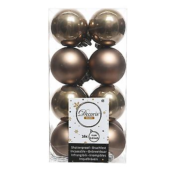 16 Small Cashmere Brown 4cm Shatterproof Christmas Tree Bauble Decorations