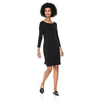 Marka - Daily Ritual Women's Jersey 3/4-sleeve Bateau-Neck T-Shirt Dress, Czarny, Mały