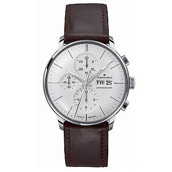 Junghans Meister Cronoscope 027/4120.01 Mão Mecânica Vento Prata Dial Relógio masculino