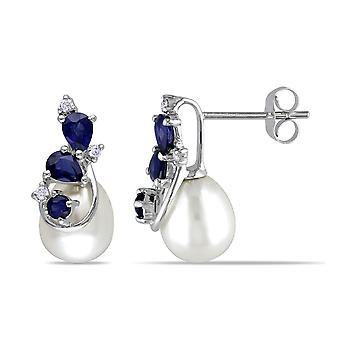 White Cultured Freshwater Pearl 8.5-9 mm and Sapphire Earrings in 10k White Gold with Diamonds