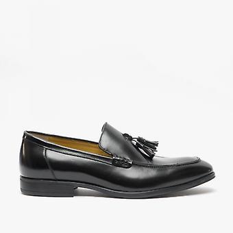 Steptronic Fabrini Mens Leather Wide Fit Tassel Loafers Black