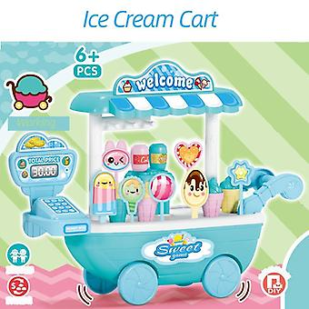 33pcs / set Ice Cream Cart Fruit Juice Drink Candy Keuken Speelgoed voor kinderen