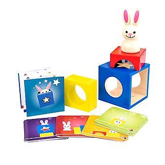 Puinen kani magic box kanssa salainen pupu boo piiloutua ja etsiä magic peli aivot