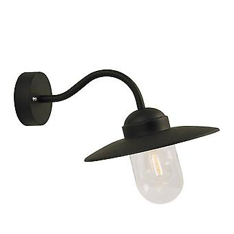 1 Light Outdoor Fisherman Dome Wall Light Black IP54, E27
