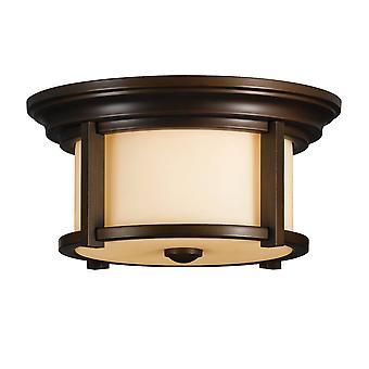 2 Lichte Outdoor Flush Mount Plafond Licht Erfgoed Bronze IP44, E27