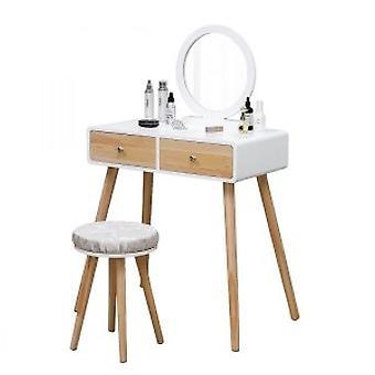 Drevený toaletný stolík so zodpovedajúcim zrkadlom a úložným zásuvkám - vrátane sedadla - biela a borovica