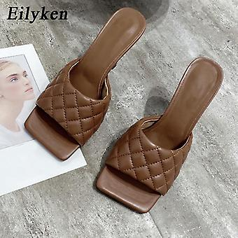 Summer Women Mules Design Slippers Sandals - Square Sole Slides High Heel